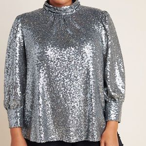 Anthropologie Luna Sequined Blouse